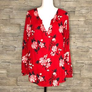 Old Navy red floral blouse